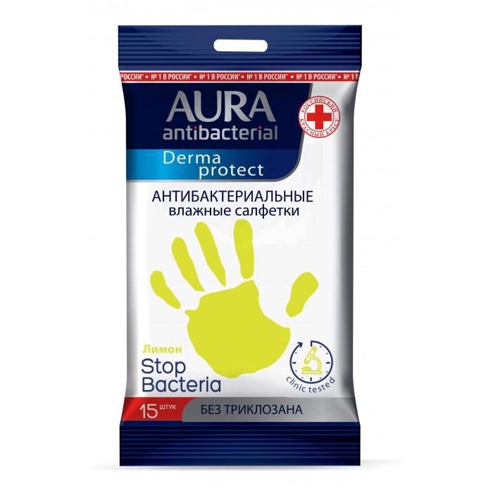Салфетки Aura Влажные салфетки антибактериальные 15 шт.