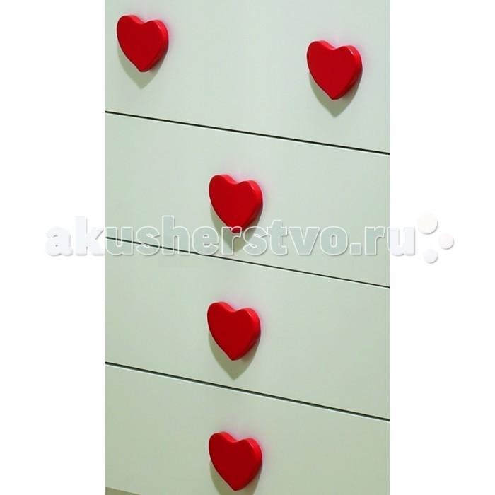 Аксессуары для мебели Baby Italia Комплект из 5 ручек с сердечками