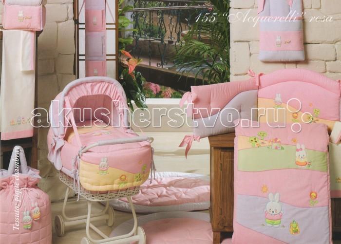 Acquerelli - Балдахин для кроватки с бантом и вышивкой pink