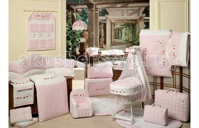 Le Chicche - Балдахин для кроватки с бантом и вышивкой pink