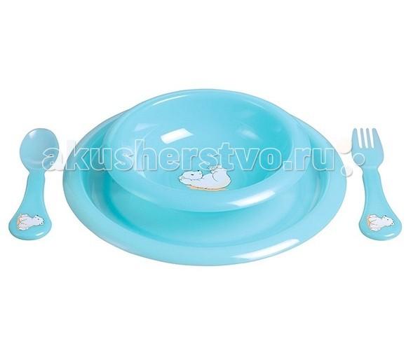 Комплект посуды для кормления Бирюзовый медвежонок