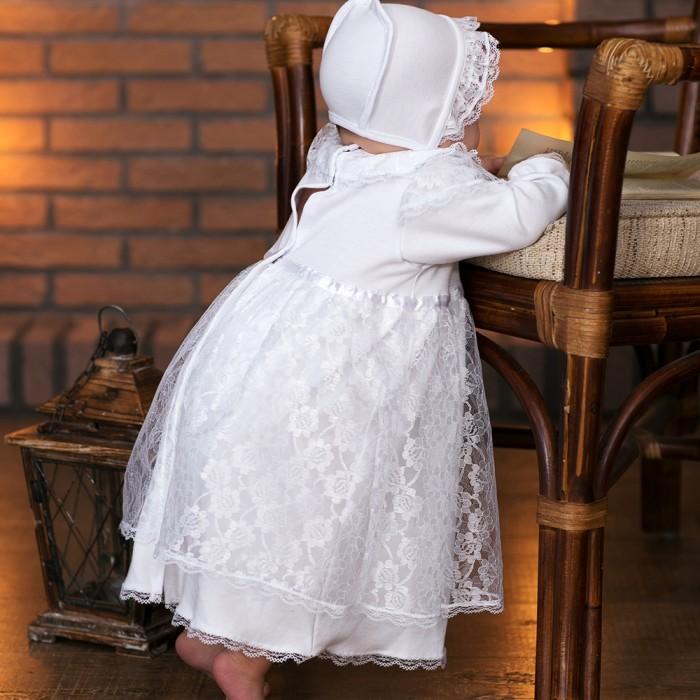 Крестильная одежда Little People Крестильное платье и чепчик 11241