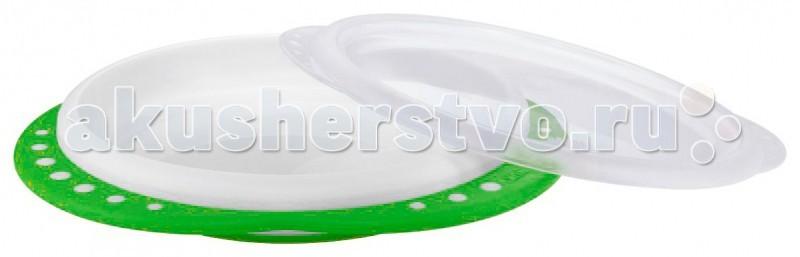 Обучающая тарелка Easy Learning с крышкой, мелкая Зеленый