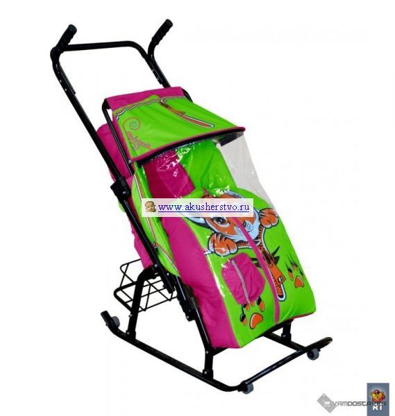 Санки-коляски R-Toys Снегурочка 42-Р Котенок с корзинкой