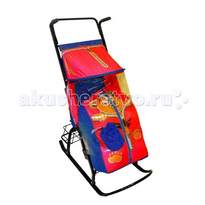 Санки-коляски R-Toys Снегурочка  Медвежонок 42-Р с корзинкой