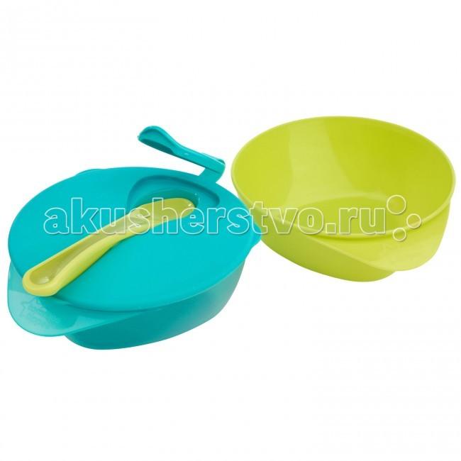 Глубокая тарелочка с Волшебным дном, крышкой и ложкой Зеленый Голубой