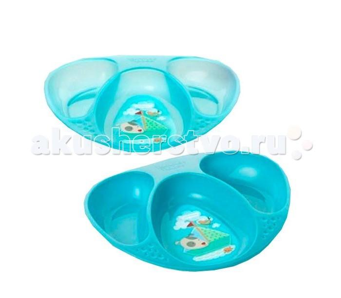 Тарелочки декорированные трехсекционные 2 шт. Синий