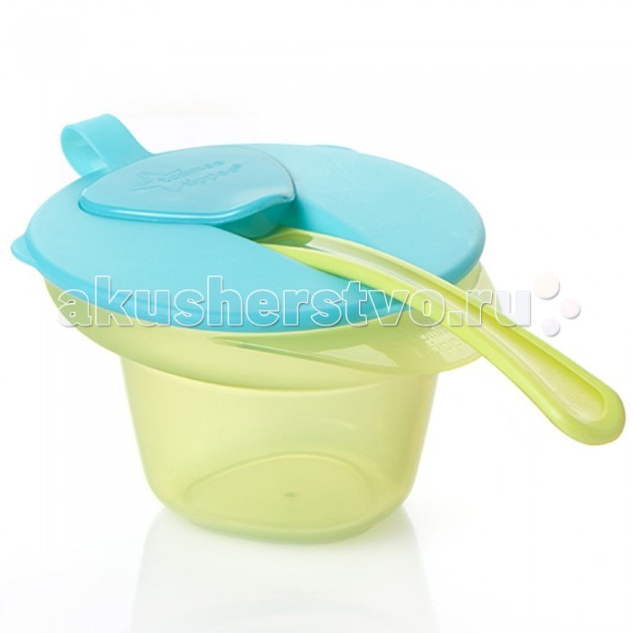 Посуда Tommee Tippee Тарелочка с отделением для охлаждения и разминания пищи с крышкой и ложечкой